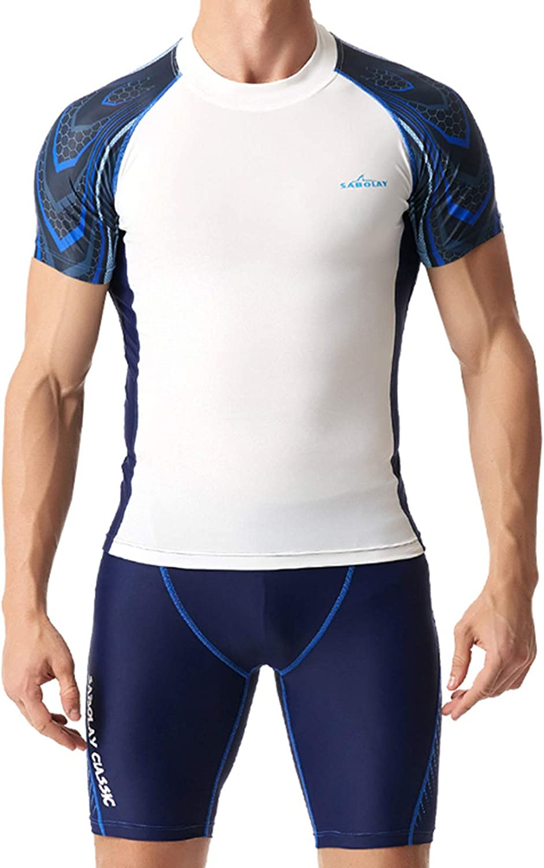 Mens Two Piece Rash Guard UPF Max 82% OFF Deluxe Swim 50+ Short Sleeve Rashguard Sh