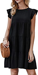 2020 Women's Summer Mini Dress Sleeveless Ruffle Sleeve...