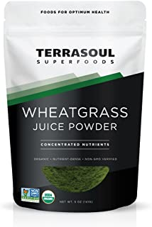 Terrasoul Superfoods Organic Wheat Grass Juice Powder, 5 Ounces - USA Grown - Made from concentrated juice