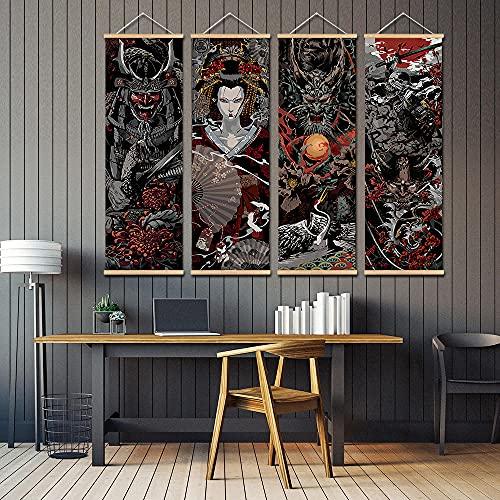 VVBGL Samurai Giapponese Wall Art Sakura Ukiyo Tela Quadri Astratta Stampa Poster Stile estetico Moderni Decorazioni della Parete della Stanza Quadro 30x90cmx4 No Frame