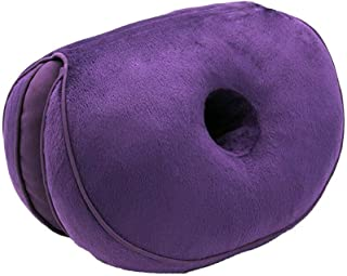 Dual Comfort Cushion Memory Foam Seat Cushion Lift Hips Up Cushion Posture Support Cushion,Coccyx Pain & Sciatica Relief Cushion, Fits in Office Chair, Car seat,Home (Purple)