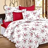 HUESLAND by Ahmedabad Cotton Comfort 144 TC Cotton Double Bedsheet with 2 Pillow Covers - White and...