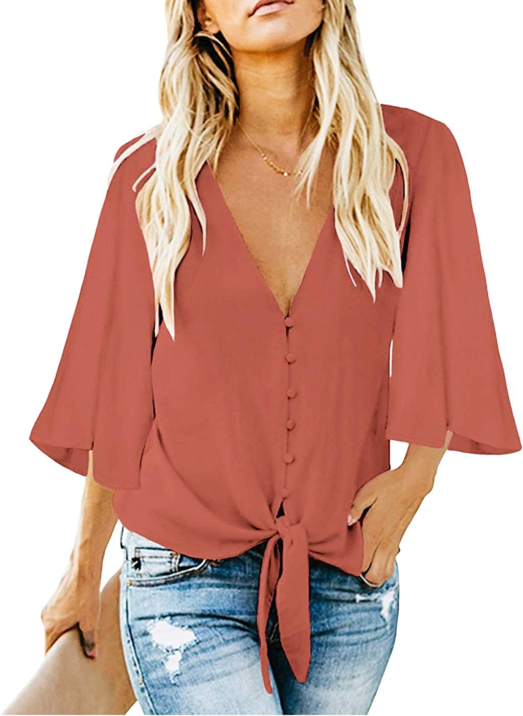 FANCYNA Women's V Neck 3/4 Bell Sleeve Tops Tie Knot Blouses Button Down Shirts for Women