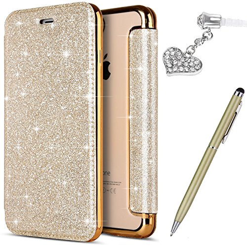 ikasus iPhone 5S Case,iPhone 5 Case,iPhone SE Case, Crystal Shiny Glitter Plating TPU PU Leather Flip Wallet Pouch Bookstyle Cover & Card Slots Protective Case Cover +Touch Pen Dust Plug,Gold