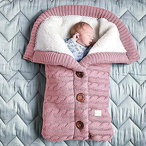 Baby Sleeping Bag for Stroller, Thick Warm Stroller Knitted Blanket Plus Velvet Blanket Sleeping Bag Swaddle for Stroller, Winter, Warm,F