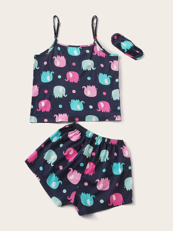 Floerns Women's 2 Piece Plus Size Cartoon Print Cami Sleepwear Pajama Sets