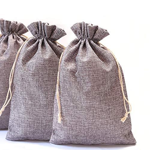 DAHI Jutesäckchen 12 Stück Säckchen Geschenksäckchen 20x30cm, Jute Sack, Jute Beutel (grau)