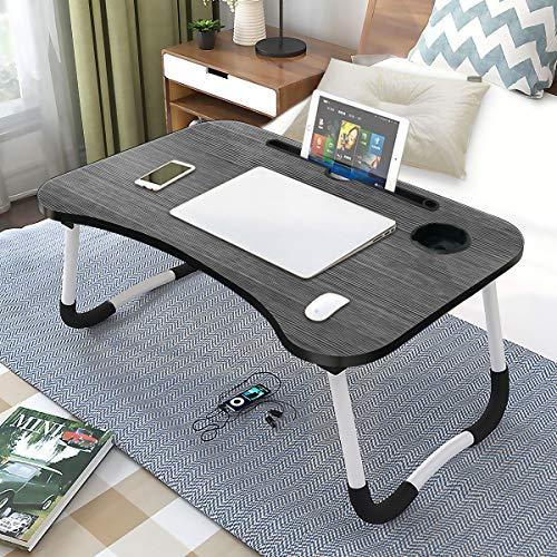 BoloShine Mesa para Ordenador Portátil, Ajustable Mesa de Cama Plegable para Leer, Mesa Estable Portátil Multifunción con Ranura para Tazas, para Cama Y Sofá(60 X 40 Cm)