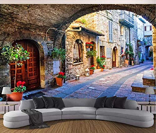 Fototapete 3D Tapete Italien Stadt Straße Fototapete 3D Tapeten 3D Effekt Wohnzimmer Deko Schlafzimmer Wanddeko Wandbilder