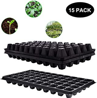 Seed Starter Tray,15 Pack BPA-Free Seeding Starter Tray with Drain Holes 50-Cell Planting Trays for Planting Seedlings, Greenhouse, Wheatgrass, Microgreens.