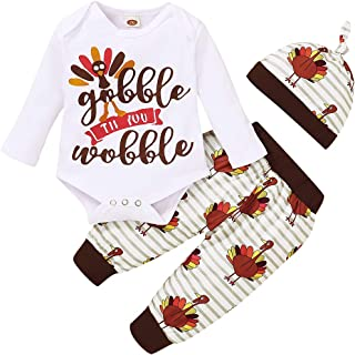 Thanksgiving Outfits Newborn Baby Boy Girl Gobble `Til You Wobble Long Sleeve Romper+Long Pants and Hat Clothes Set