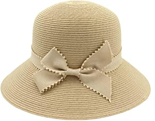 Songlin @ yuan Women's Outdoor Summer Big Sand Wing Decorative Straw Hat Beach Fashion Visor Crochet Sun Hat Casual 2019 New Size:56-58CM (Color : Khaki, Size : 56-58CM)