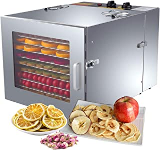 ZXMOTO Commercial Food Dehydrator 10 Trays Stainless Steel Jerky Dehydrator 110V 1000W Meat Dehydrator Jerky Dryer for Bee...
