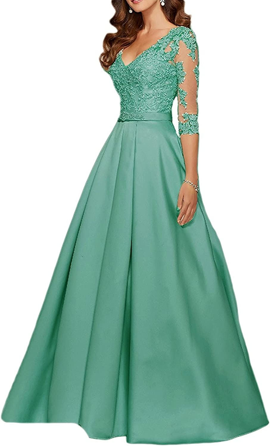 Alexzendra Women's VNeck 3 4 Sleeves Prom Dress Lace Long Mother Of The Bride Dresses 2017