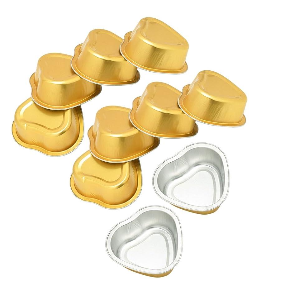 雑草灌漑袋Kesoto 可愛い ミニボウル 金色 アルミ箔 融解ケース ハート型 脱毛備品 ワックスボウル 10個入り