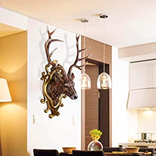 ZHOUJIE Cabeza de Ciervo Colgante de Pared Europeo Retro Creativo hogar Sala de Estar Fondo decoración de la Pared Cabeza de Animal Bar decoración de la Pared-Trompeta de Plata