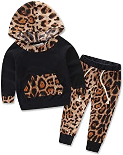 LXXIASHI 2Pcs Toddler Infant Baby Boy Girl Long Sleeve Leopard Hoodie Top + Pants Outfits Set