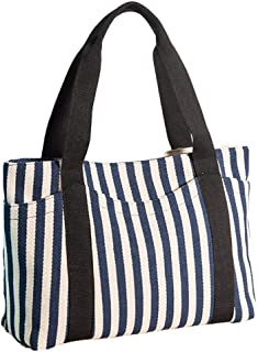 Women's Tote Bag with Multiple Pocket Striped Canvas Shoulder Bags Top Handle Beach Handbag/Perfect Bag for Gift Blue