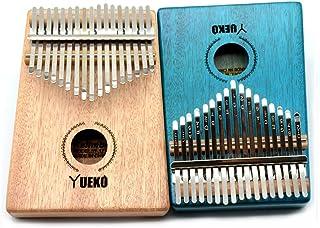 YUEKO Kalimba 17 keys Thumb Piano builts-in EVA high-performance protective box tuning hammer and study instruction,Mahoga...
