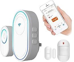 Wifi-deurbelset, Tuya Alarm Intelligente draadloze deurbel met 58 LED-ringtones, buitendeurbel + binnensignaal