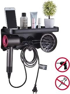 Hair Dryer Wall Mount Holder for Dyson Supersonic Hair Dryer, Hair Dryer Bracket Accessories Holder For Dyson, Punch-free Hair Dryer Holder Bathroom Storage Rack (L)