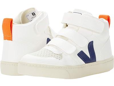 VEJA Kids V-10 Mid (Little Kid/Big Kid) (White/Cobalt/Orange Fluo) Kids Shoes