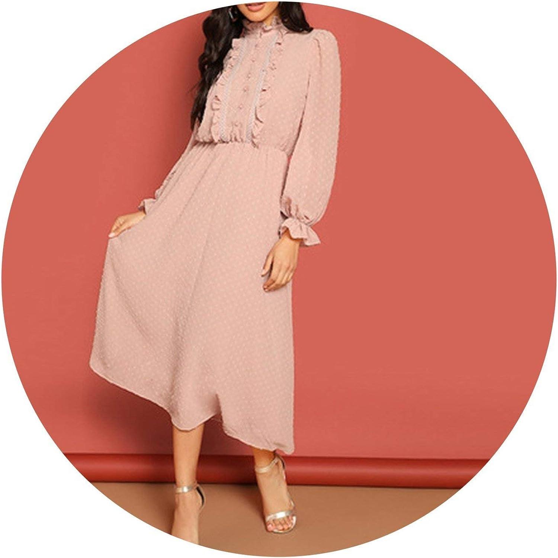 Leifun Pink Frill and Lace Trim Half Placket Dot Jacquard Dress Women Long Sleeve Solid Arabian Dresses