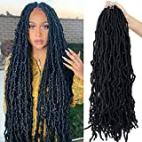 Youngther Faux locs Crochet Hair 24 Inch Most Natural Faux locs Crochet Braid 6 Packs/lot Goddess locs 100% Premium Fiber Synthetic Hair Hair Extensions (24'6Pcs-1B#)