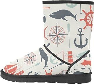 Artsadd Fashion Women's Shoes Seahorse Starfish Anchor High Top Womens Snow Boots