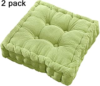 youta Solid Home Floor Cushion Papasan Patio Wicker Seat Cushion Square 18 Inch Set of 2 Indoor/Outdoor Green