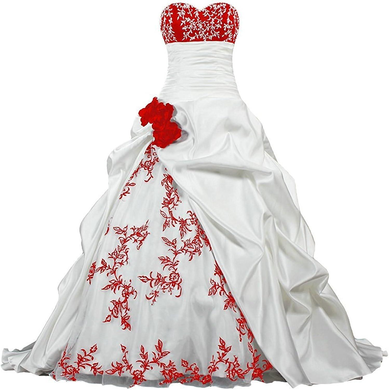APXPF Women's Strapless Embroidery Pleat Satin Wedding Dress for Bride