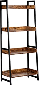 AMOAK 4-Tier Bookshelf, Industrial Ladder Shelf, Bookshelves, Vintage Bookcase, Storage Rack Shelves for Living Room, Bathroom, Wooden and Metal Frame, Retro Brown