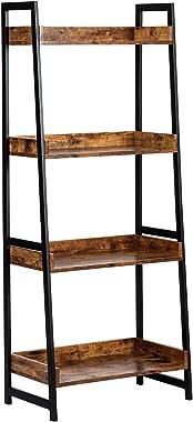 AMOAK 4-Tier Bookshelf, Industrial Ladder Shelf, Bookshelves, Vintage Bookcase, Storage Rack Shelves for Living Room, Bathroo