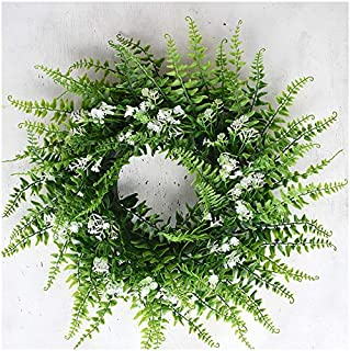 """Artificial Christmas Fern Eucalyptus Boxwood 14"""" Green Wreath for Front Door Wall Window Greenery with Free 12"""