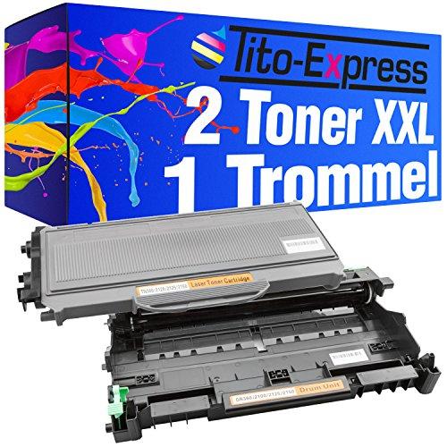 Tito-Express PlatinumSerie Sparset Trommel & 2 Toner-Kartuschen XXL Schwarz kompatibel mit Brother DR-2100 & TN-2120 HL-2140 HL-2150 HL-2150N HL-2170 HL-2170N HL-2170W DCP-7030 DCP-7040 /DCP-7045N MFC-7320