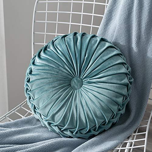 JONJUMP Pillow Home Textile - Cojín redondo plisado de terciopelo de color sólido para el hogar