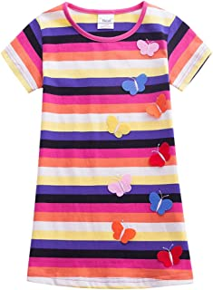 Fairy Baby Kids Girls Summer Shirt Dress Colorful Striped Butterfly Sundress Casual Outfit
