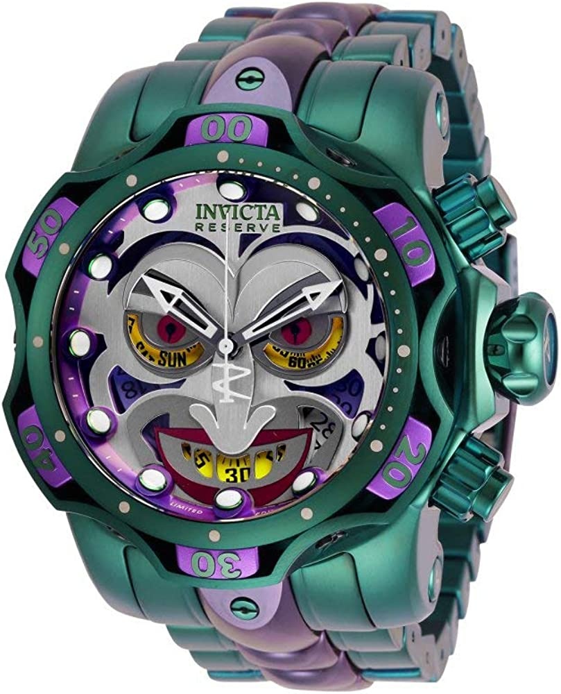 Invicta 30124 DC Comics Joker Reloj para Hombre acero inoxidable Cuarzo Esfera verde