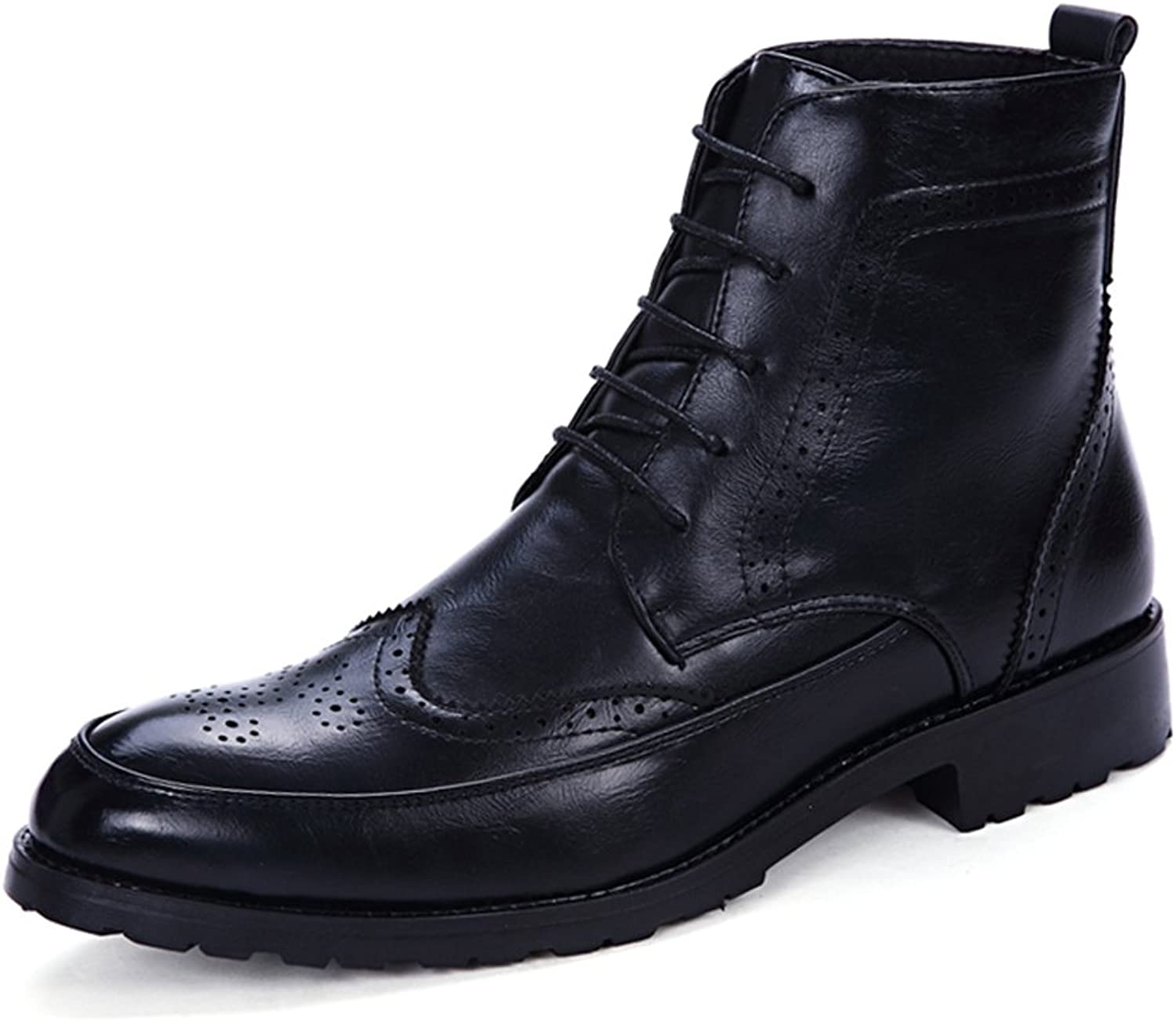 Tooling shoes Martin Boots Men's Ankle Boots Lace up Anti-Skidding Soft PU Leather High Top Oxford shoes Wingtip Military High-tops Boots (color   Black, Size   8 UK)