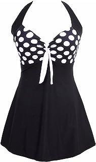 Amenxi Women's Swimming Costume Plus Size Swimsuit One Piece Swim Dress Tummy Control Swimwear with Skirt