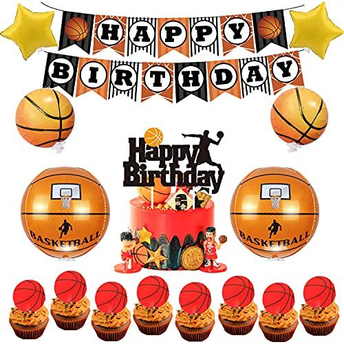 rosepartyh Decoraciones de Fiestas Cumpleaños Baloncesto Globos Feliz Cumpleaños del Pancarta Adornos para Tartas Globos de Aluminio para Niños Fanáticos de Baloncesto Temático Fiesta de Cumpleaños
