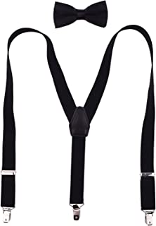 Adjustable Suspenders and Pre Tied Bow Tie Trouser Braces for Kids Boys Black