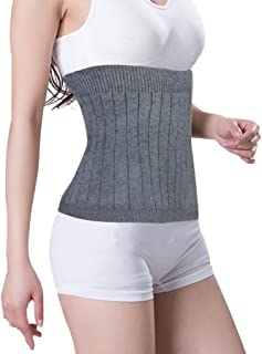 """Soft Warm Knit Compression Waistband Back Brace Lumbar Support Wrap Slim Waist Trimmer Kidney Binder Belly Stomach Warmer Belt- Help Pain Relief Surgical Recovery (Grey, L: for Waistline 35""""-42"""")"""