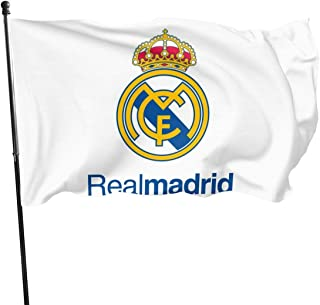 GFHANI Real Madrid Logo Png Hd Flag 3x5 FT, Durable Polyester, Ft Polyester Flag for Outdoor Decoration-Merchandise for Indoor/Outdoor Use (100% Polyester, 3 X 5 Ft)