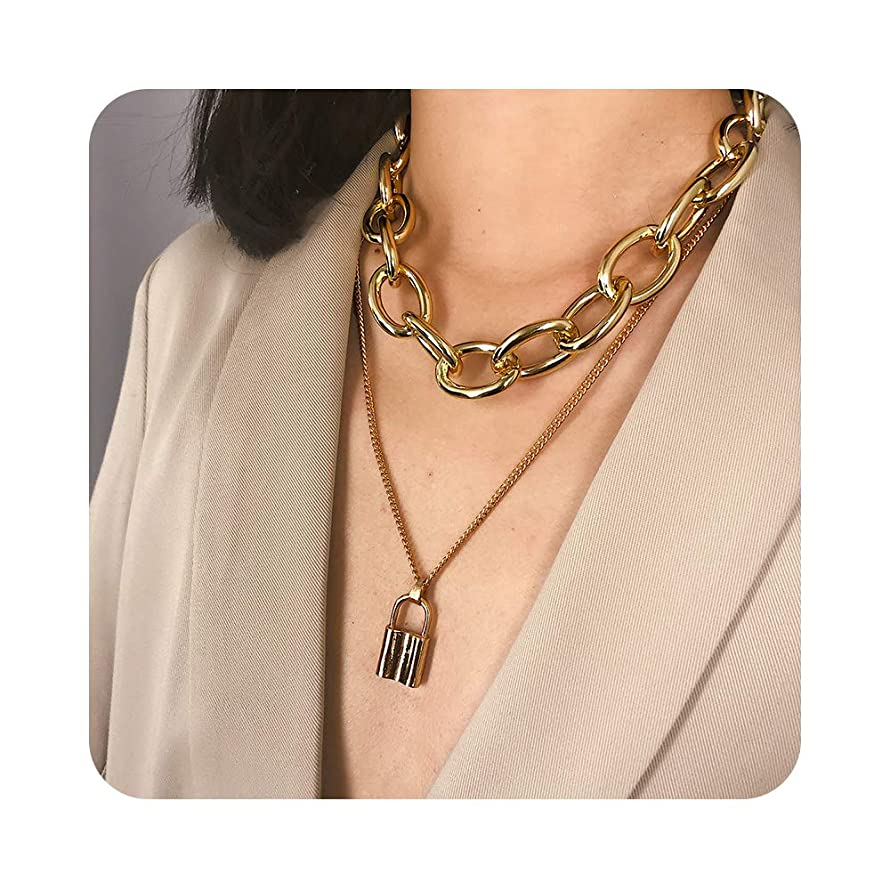 7th Moon Lock Pendant Necklace Statement Long Chain Punk Multilayer Choker Necklace for Women Girls