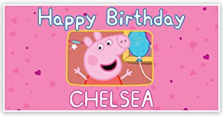 Peppa The Pig Pink Personalized Birthday Banner