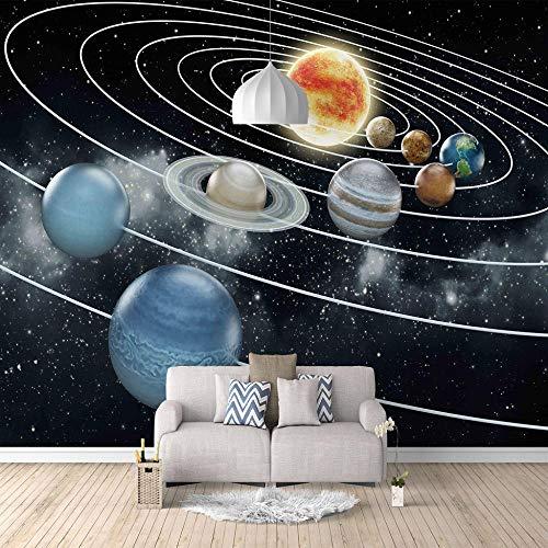 xczxc Foto tapete Planet des Sonnensystems 3D Effekt Motivtapeten Wandbild Wand Dekoration Für Schulen, Hotels, Wohnzimmer, Schlafzimmer, Restaurants Und Ktv-Bars 200 X 140 cm