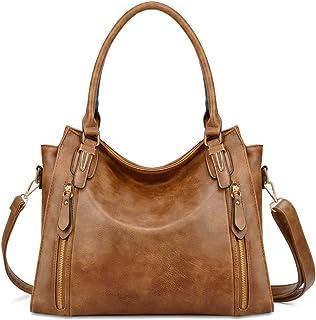 Plambag Faux Leather Handbag for Women Zipper Purse Tote Bag