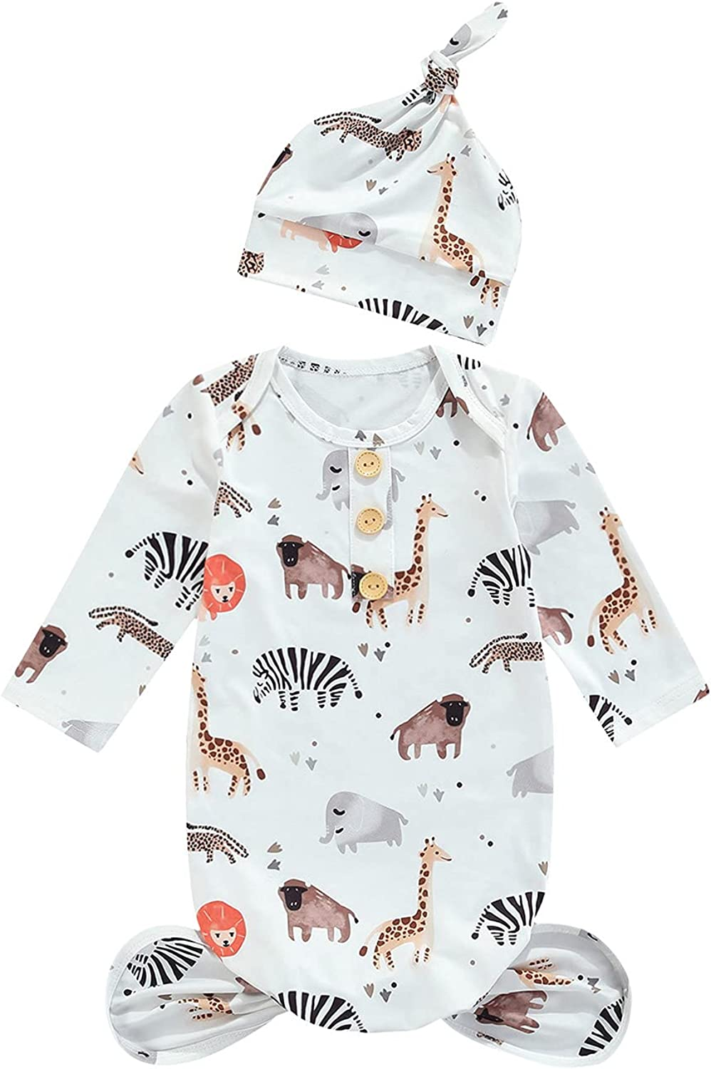 Newborn Baby Boy Girl Knotted Gowns Long Sleeve Printed Sleeping Bag Coming Home Outfit Nightgown Pajamas Hat Set