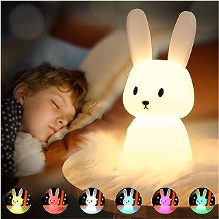 SOLIDEE Lapin Veilleuse Bebe Tactile 7 Couleurs  USB Rechargeable Peut être Chronométré Veilleuse Enfant Deco Lampe Pour D...